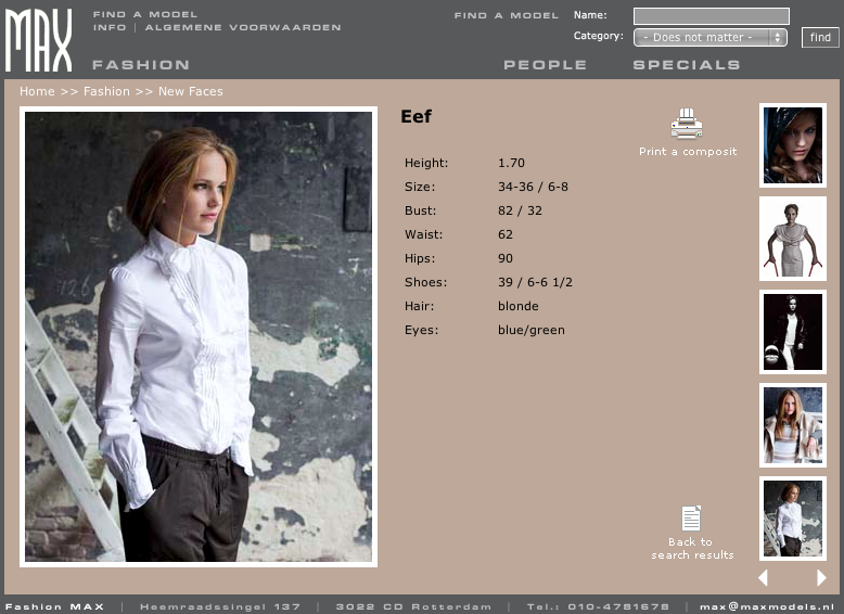 site page of modelagency