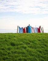 wasgoed aan de lijn in Hollandse Landschap groene weide.