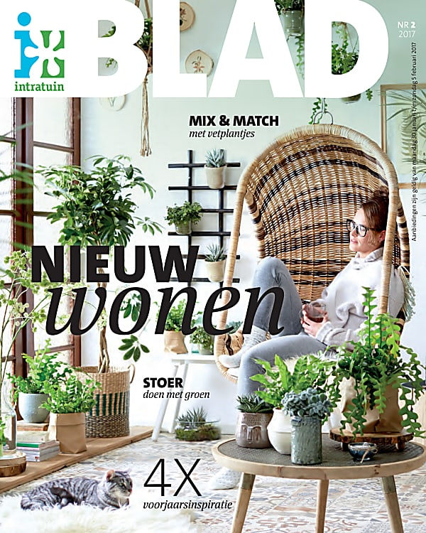 Cover of brouchure garden center Intratuin Green room with woman relaxing in hanging basket chair