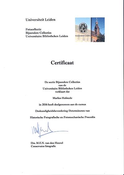 diploma cursus Leiden Universiteit kleurenafdruk